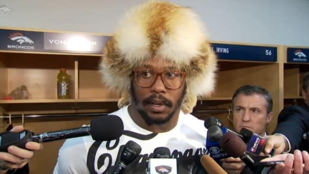 Denver Broncos Von Miller wore a crazy fur hat