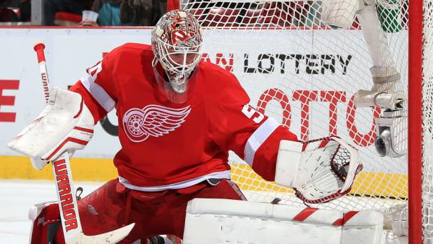 red wings Jonas Gustavsson shoulder injury