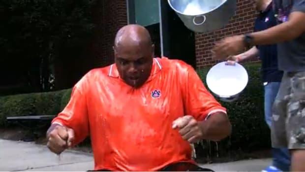 Charles Barkley takes the ice bucket challenge