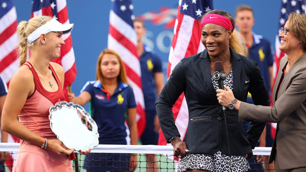 Serena Williams Caroline Wozniacki US Open final post match ceremony
