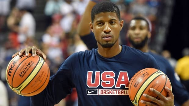 Indiana Pacers' Paul George will receive a life size get well card from Fresno State