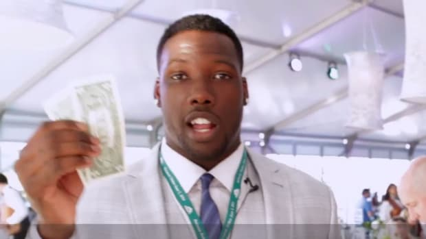 New York Giants Jason Pierre Paul goes to the Belmont Stakes