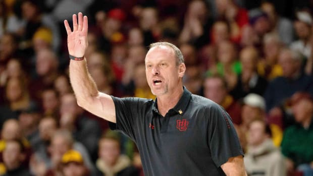 Nov 12, 2018; Minneapolis, MN, USA; Utah Utes head coach Larry Krystkowiak in the first half against Minnesota Gophers at Williams Arena. Mandatory Credit: Brad Rempel-USA TODAY Sports