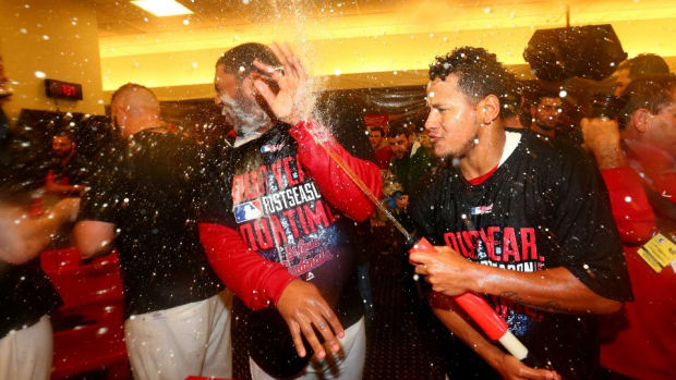 St. Louis Cardinals celebrate with beer guns