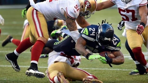 seahawks 49ers marshawn lynch jim harbaugh colin kaepernick
