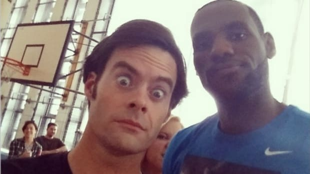 LeBron James and Bill Hader on the set of Trainwreck