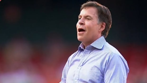 Bob Costas threw out the first pitch twice at a cardinals game