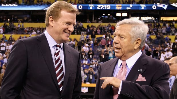 Goodell's chummy relationship with some NFL owners, like New England's Robert Kraft, has called into question the commissioner's ability to rule without prejudice. (Ezra Shaw/Getty Images)