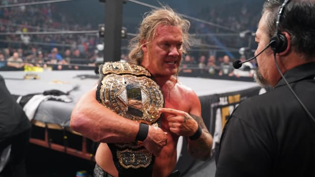 AEW champion Chris Jericho with the title belt