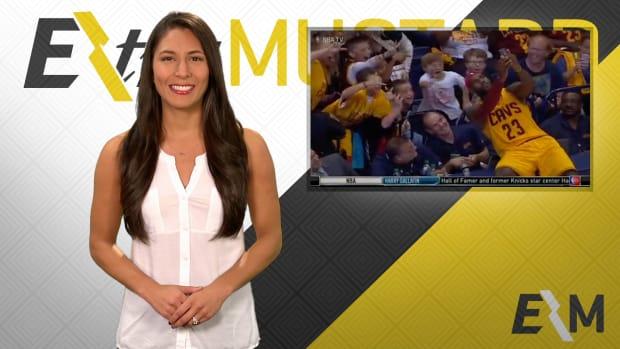 Mustard Minute: LeBron James takes selfie with kids during preseason game IMG