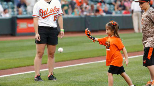 Five-year-old Orioles fan throws first pitch with prosthetic hand IMAGE