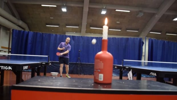 Watch this table tennis player blow out a candle with an amazing shot