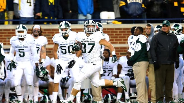 The everyman and the exception: Trevon Pendleton, a fullback, is Michigan State's unlikely man of the moment