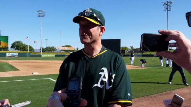 Jim Harbaugh Michigan Oakland Athletics spring training