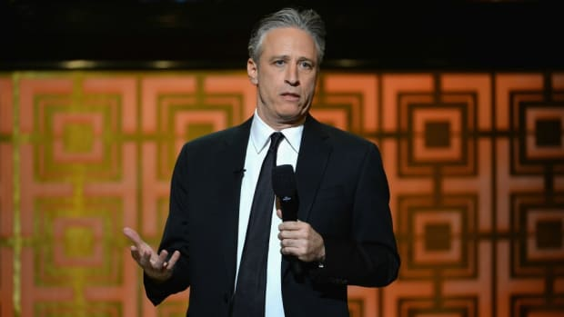 Jon Stewart and WWE's Seth Rollins are feuding