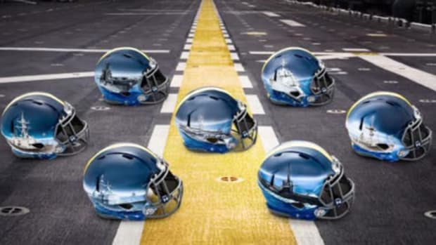 Navy unveils new uniforms and custom helmets for each position--IMAGE