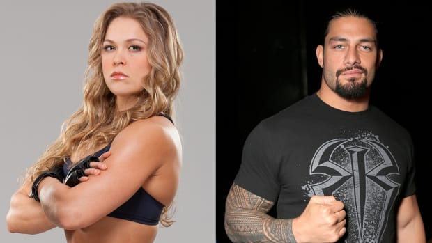 Ronda Rousey interviews WWE's Roman Reigns about Wrestlemania-image