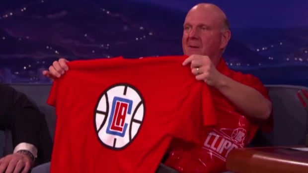 Steve Ballmer unveils new Clippers logo on Conan IMAGE