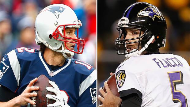Does Joe Flacco own Tom Brady in the playoffs?-image