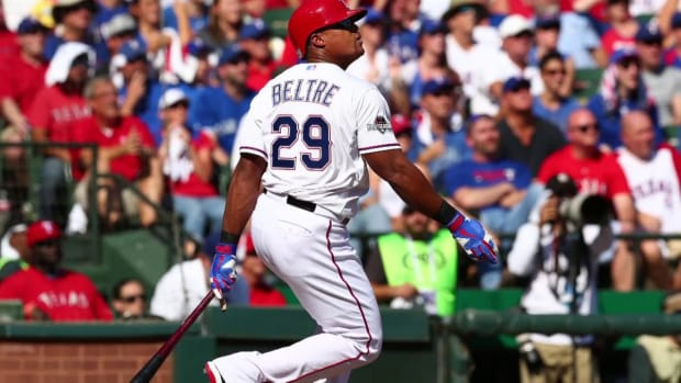 Texas Rangers 3B Adran Beltre played second half with torn thumb ligament--IMAGE