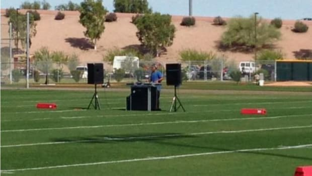 Cubs practice features a DJ in the middle of the field