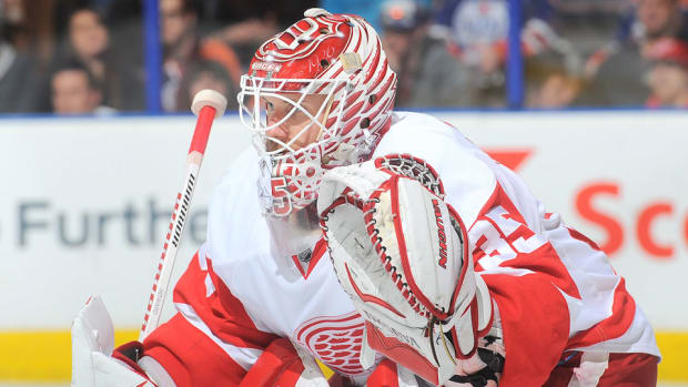 red wings jimmy howard out groin tear