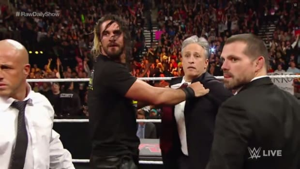 Jon Stewart takes on Seth Rollins on Monday Night Raw
