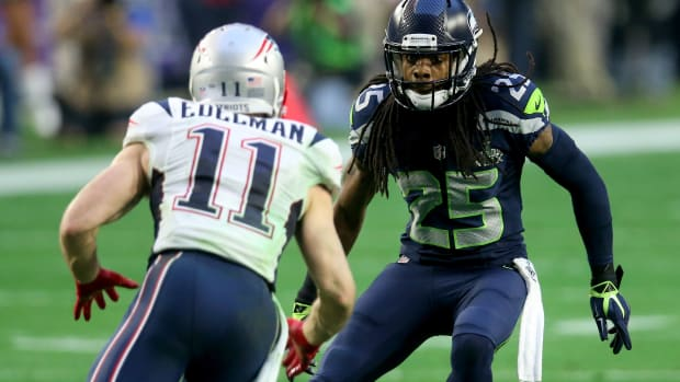 Richard Sherman Seattle Seahawks postgame 2015 Super Bowl