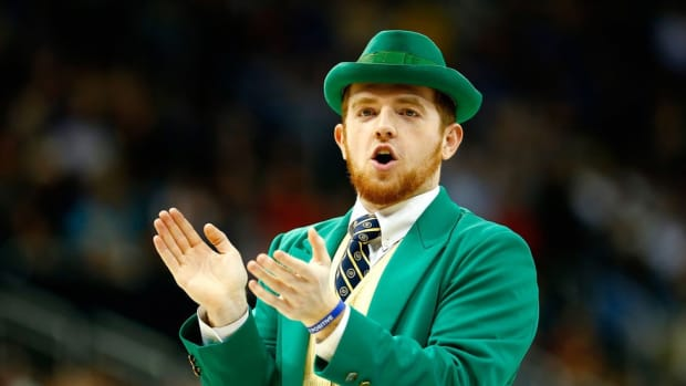 He's John Doran by day, but on Saturdays he becomes the iconic Notre Dame leprechaun