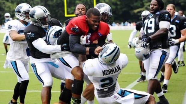 Cam Newton shoves teammate Josh Norman in practice, scuffle ensues - IMAGE
