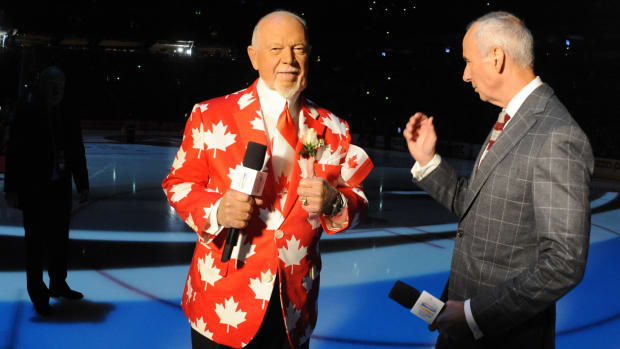 Don Cherry before Game 1 of the World Cup of Hockey in 2016.