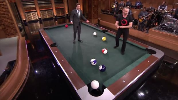 Jimmy Fallon and Hugh Jackman play first ever game of Pool Bowling