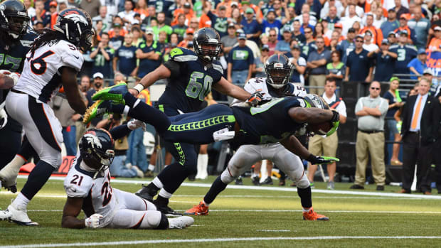 Marshawn Lynch game winning touchdown Seahawks Broncos