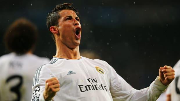 Cristiano Ronaldo practices his goal celebrations