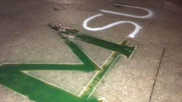 Michigan State painted an Ann Arbor landmark green