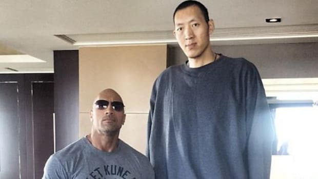 The Rock met seven foot nine basketball player Sun Ming Ming