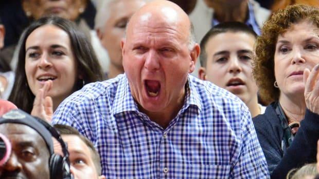 Steve Ballmer calls the Clippers Hardcore, then scares his son