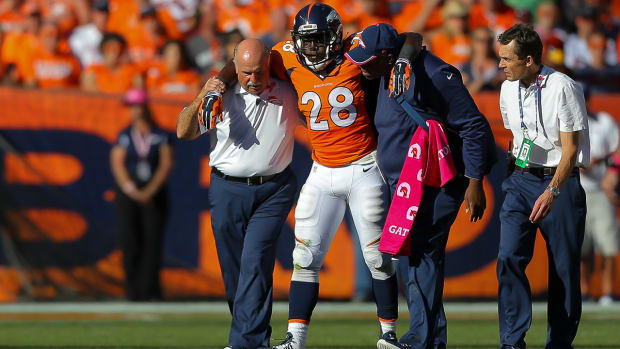 """Broncos' Montee Ball """"out for a while"""" after injuring groin"""