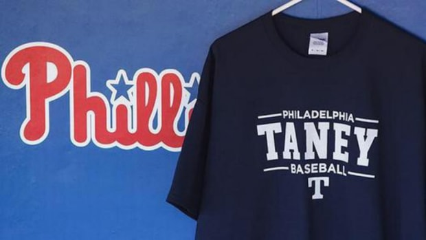 Philadelphia Phillies hung a Taney Dragons T-shirt in their dugout