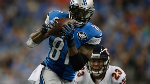 Detroit Lions Calvin Johnson 10,000 receiving yards NFL history Chicago Bears Thanksgiving