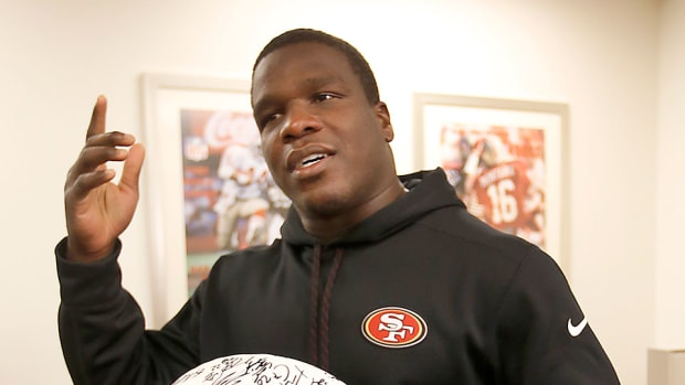 frank gore 49ers media pizza thank you