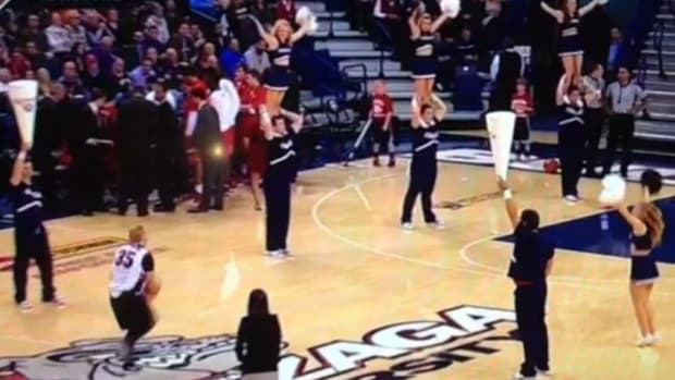 Gonzaga student's wildly off target half-court shot somehow goes in