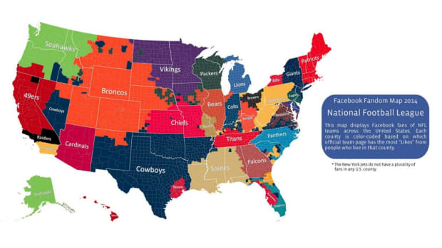 Facebook has map of all NFL Fans based on each zip codes likes