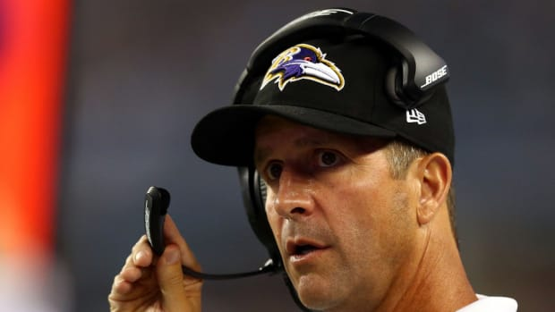 Baltimore Ravens coach John Harbaugh Michigan job