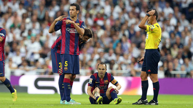Andres Iniesta out for three weeks with calf injury