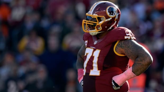 Redskins tackle Trent Williams has started 49 of the 50 games he has appeared in his career. (Patrick McDermott/Getty Image