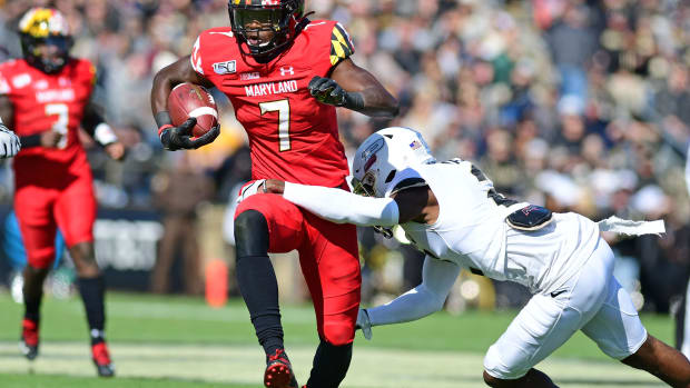 Maryland Terrapins receiver Dontay Demus Jr. (7) runs against the Purdue Boilermakers in the first half at Ross-Ade Stadium.
