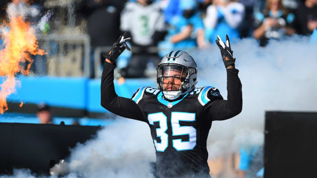 Nov 25, 2018; Charlotte, NC, USA; Carolina Panthers cornerback Corn Elder (35) runs on to the field before the game at Bank of America Stadium.