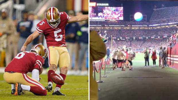 49ers' Chase McLaughlin attempts a game-winning field goal against the Seahawks on Monday Night Football