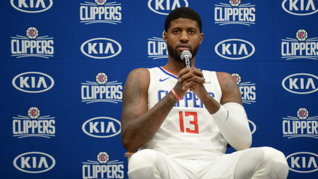 Paul George being introduced by the Clippers